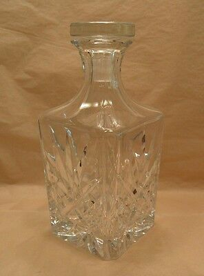 Vtg Cut Glass Lead Crystal Square Decanter W/ Stopper Starburst Pattern
