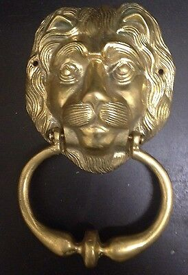 Vintage Beautifully Detailed Brass Lion Head Door Knocker, Very Good Condition