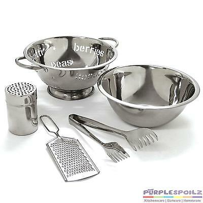 NEW TUFFSTEEL 5 PIECE PASTA SET Strainer Bowl Colander Grater Tongs Cheese Shake