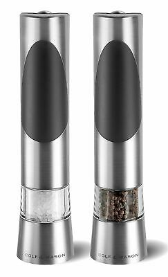NEW COLE & MASON ELECTRONIC SALT AND PEPPER MILLS Electric Mill Grind RICHMOND