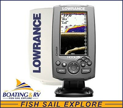 Lowrance HOOK 4x Fish Finder + 83/200/455/800 Transducer + Sun Cover - Free Post