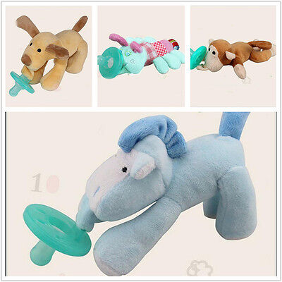 Baby Cute Animal Nipple Infant Wubbanub Silicone Pacifiers with Cuddly Plush New