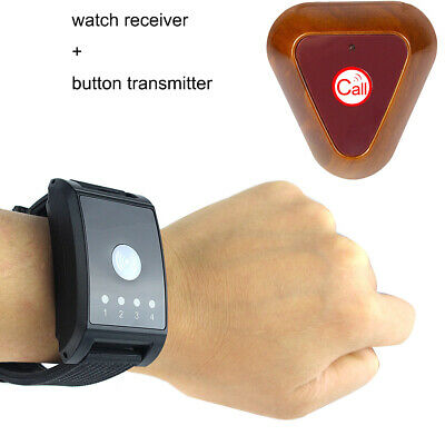Wireless Watch Call Receiver Pager Button Transmitter Vibrate/Buzzer 433MHz
