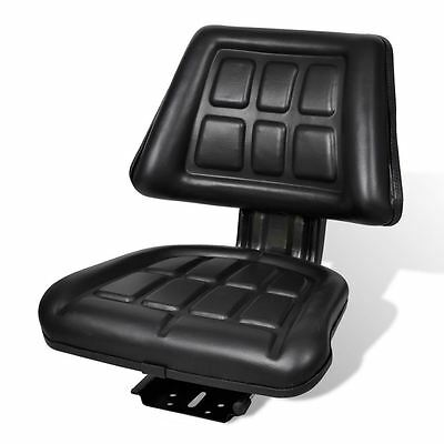 Black Tractor Seat Backrest Base & Slide Track Steel/PVC Compact Mower Seating