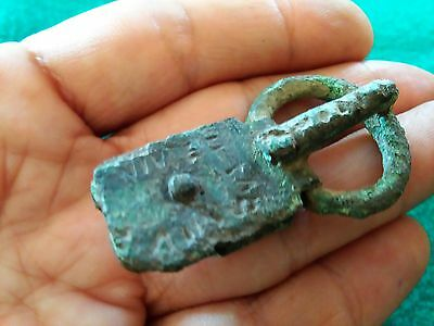 Superb belt buckle Roman bronze, with writing in latin