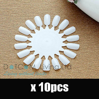 10 X Nail Art Round Practice Wheels Salon Display Polish Acrylic Make Up Tips Uk