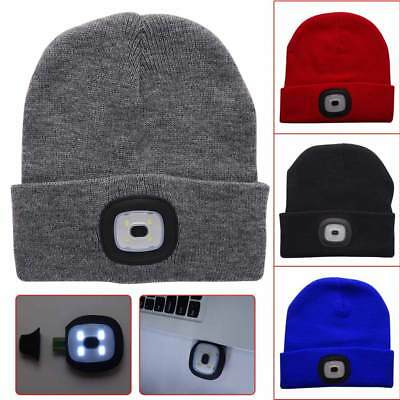 Unisex 4LED Beanie Knit Hat Rechargeable Flashlight Cap Climbing Fishing Camping