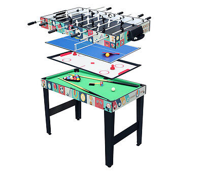 4FT 4 in 1 Multi Game Table Pool/Snooker,Football,Air Hockey&Table Tennis Table