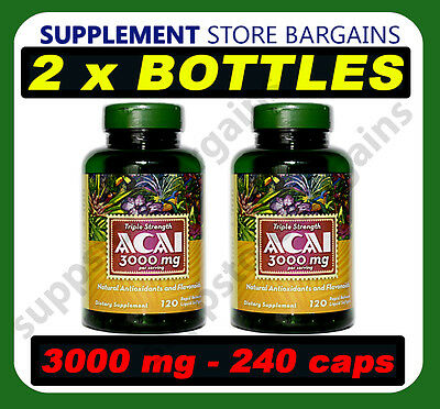 2 x Triple Strength Acai Berry 3000 mg 240 Capsules in total