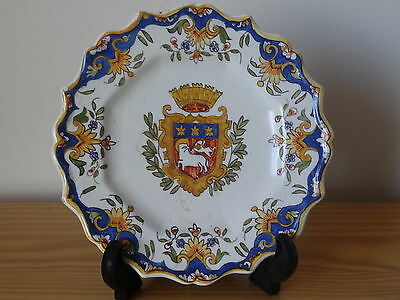 c.19th - Antique Vintage French France Rouen Heraldic Armorial Faience Plate