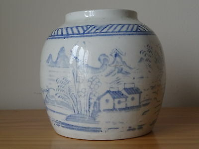 c.19th - Antique Vintage Chinese China Blue and White Stoneware Ginger Pot Jar