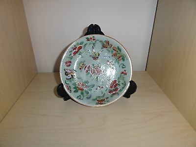 c.19th - Antique Vintage Chinese Porcelain Celedon Ground Famille Rose Plate