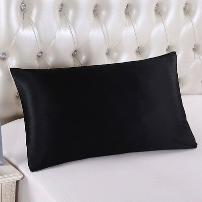 100% Mulberry Pure Silk Pillow Case /Cover QUEEN STANDARD - 19 MOMME BLACK