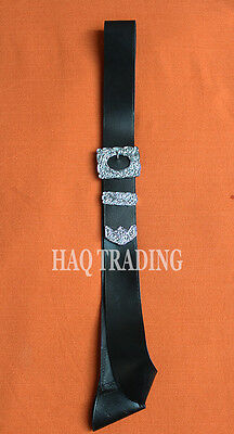 Piper Cross Belt, Thistle Chrome Buckle. Real Black Leather