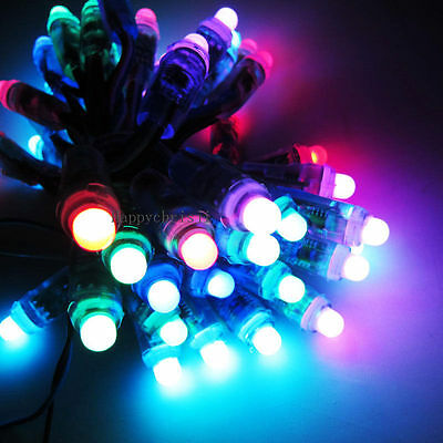 500PC LED Pixels RGB 12mm WS2801 Full Color Diffused Waterproof IP68 5V DC Round