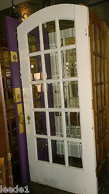 "1920's 36"" Arched Top 15 Light Beveled Glass Door Architectural Salvage"