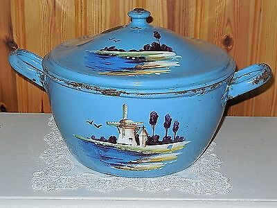 RARE ANTIQUE VINTAGE French Enamelware TUREEN  / Wind Mill in lanscape - c.1890