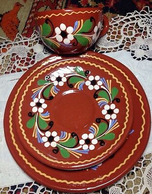 Three Piece Set Slipware Likely French (Alsace) Cup Saucer Plate Gorgeous signed