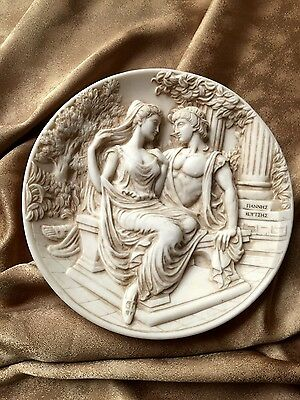 "Gorgeous 3D Antique Plate Aphrodite and Apollon Rome Wall Decor 8 1/2 "" Italy"