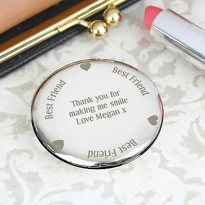 Personalised Engraved Best Friend Compact Mirror: Christmas, Wedding, For Her