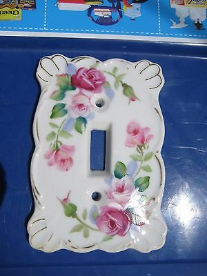 Vintage *** FLOWER *** Fine China 1-Gang Toggle Switch Wall Plate KELVIN JAPAN