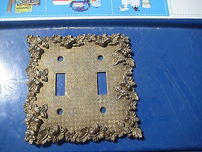 Vintage *** 1968 AMERICAN TACK *** Ornate Metal 2-Gang Toggle Switch Wall Plate