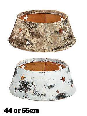Christmas Tree Skirt Xmas Birchwood Natural Wood Effect Decoration Stand Cover