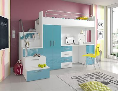 High Gloss Cabin High Bed, Wardrobe, Under Steps Drawers, Desk Paradise4s