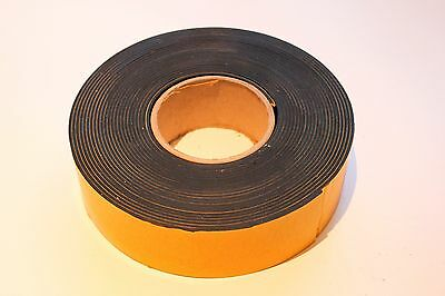 SOLID NEOPRENE RUBBER STRIP SELF ADHESIVE  50 mm x 2 mm x 1m roll