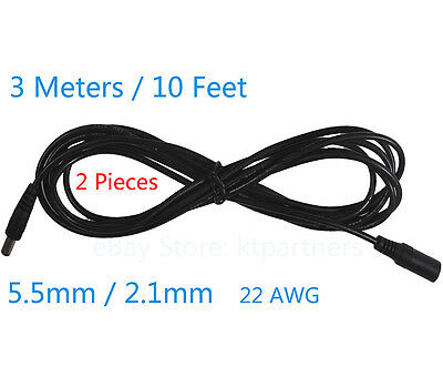 2x 3M 10ft DC 12V Power Extension Cable for CCTV Cameras 5.5*2.1mm Free shipping