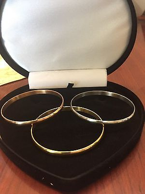 Womens 14K & Sts Rose Gold Yellow Gold  Cuff Bangle Bracelet Set Of 3 Sz 8 In
