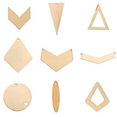 10pcs Geometric Wood Shapes for Crafts Wood Charms DIY Woodcrafts Decorations
