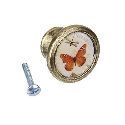 Antique Brass Cabinet Drawer Pull Knob Closet Handle DIY Butterfly Dragonfly
