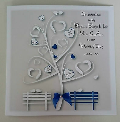 Personalised Wedding Day Card Royal Blue Brother and  Brother In Law Any Colour