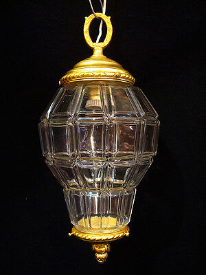 Antique French Solid Bronze & Glass Chandelier Lantern