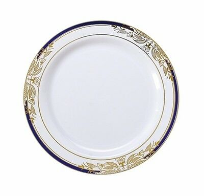 """120 ct. 7.5"""" White Blue/Gold China Look Disposable Salad Plates NEW STYLE!"""