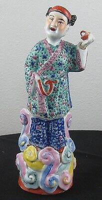 Antique Chinese porcelain Famille Rose figure 19thc. Qing Immortal in Cloud