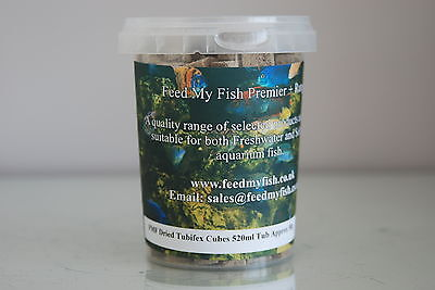 Freeze Dried Aquarium Tubifex Cubes Suitable For All Fish 520ml Tub Approx 50g