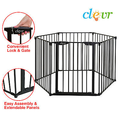 New Clevr 3-in-1 Baby 6 Panel Playard Metal Gate Fence Playpen Auto-Lock