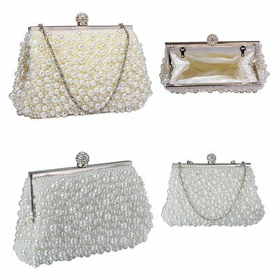 Ivory White Pearl Beaded Vintage Style Clutch Bag Wedding Prom Party Handbag New