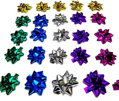 NEW 25 Pcs Self Stick Bow Gift wrapping Multi Colour Christmas Birthday Wedding