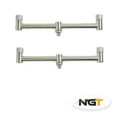 2 x NGT Stainless Steel Buzz Bars 2 ROD 20CM Fixed Carp Fishing Buzzer Bars NEW