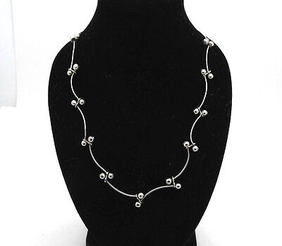 "Sterling Silver 925 Bead & Bar Fancy Link Necklace Neck Chain 16"" - 18"" Length"