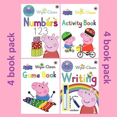 Peppa Pig's Wipe Clean Collection 4 Books Set Writing + Numbers + Activity+ Game