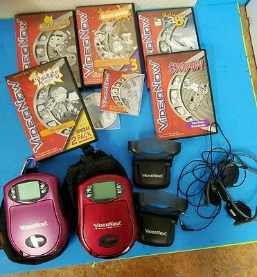 VideoNow Video Player HUGE LOT Red & Purple + Accessories