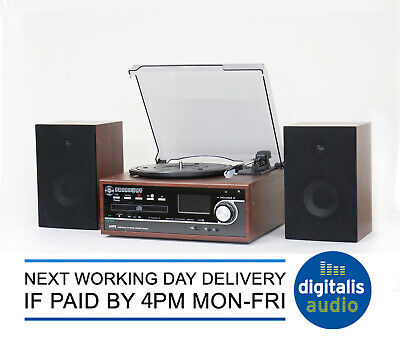 Steepletone Broadway Teak Bluetooth Music Centre Record from CD/LP to MP3 NEW