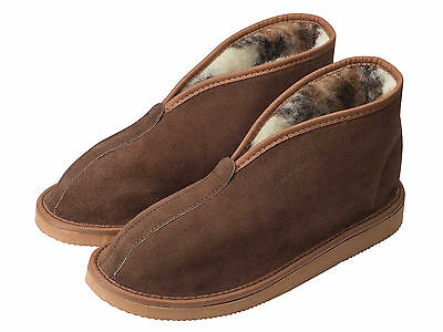 Mens Womens Sheepskin Suede Slippers Boots With Sheep Wool Lining, EVA Sole