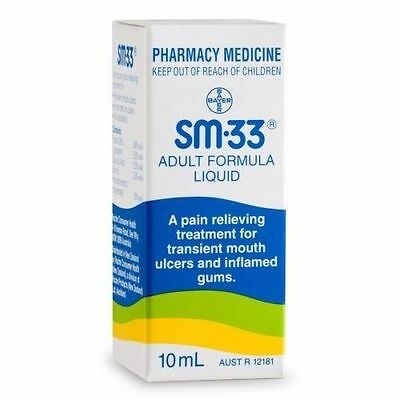 3 X Sm 33 Liquid Antiseptic Adult Formula Mouth Ulcer Sm-33 10Ml Total 30Ml