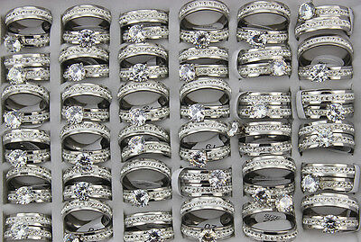 New Bulk Lots 12pcs stainless steel CZ Wedding Party 2pcs in 1set Fashion Rings