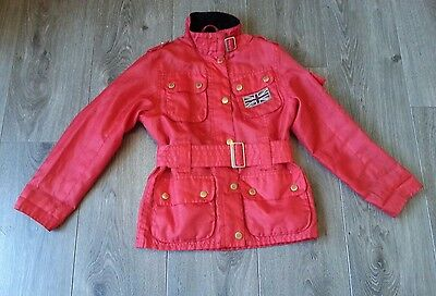 #963 Barbour Girls Kids Union Jack Woven Badge Red Belted Jacket, Small Age 6/7